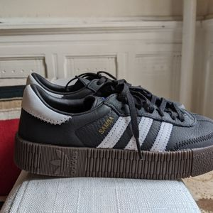 Adidas black leather Sambarose size 5.5